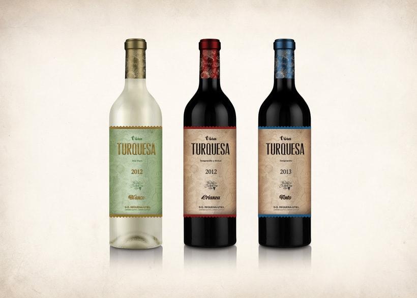 Wine Label Design: Viña Turquesa Crianza (Bodegas Pedro Moreno 1940) 18