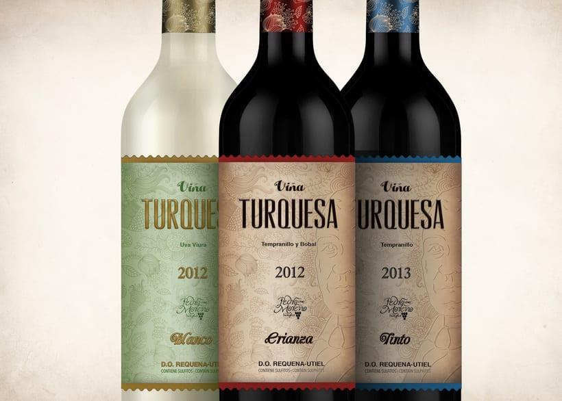 Wine Label Design: Viña Turquesa Crianza (Bodegas Pedro Moreno 1940) 20