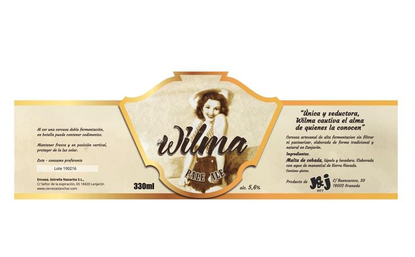 Cerveza Wilma. Diseño de etiqueta. 2º Premio Granada Beer Festival 2