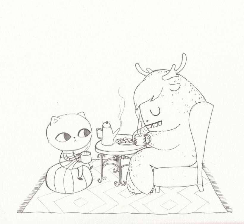 Honorato y El-Hombre-de-más-allá-de-las-montañas toman el té -1