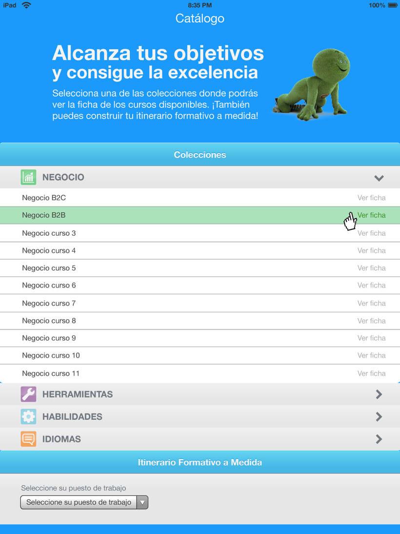 Bocetos APP para tablet de un catálogo de cursos para CETELEM. -1
