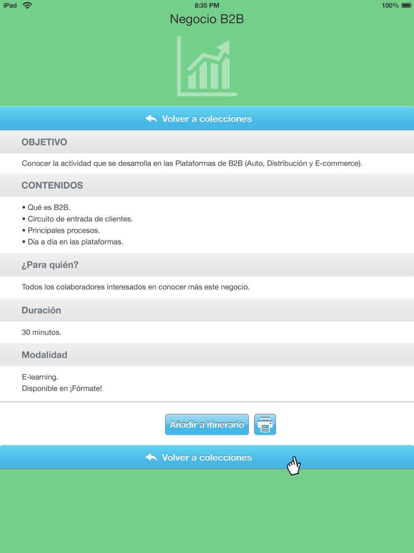 Bocetos APP para tablet de un catálogo de cursos para CETELEM. 0