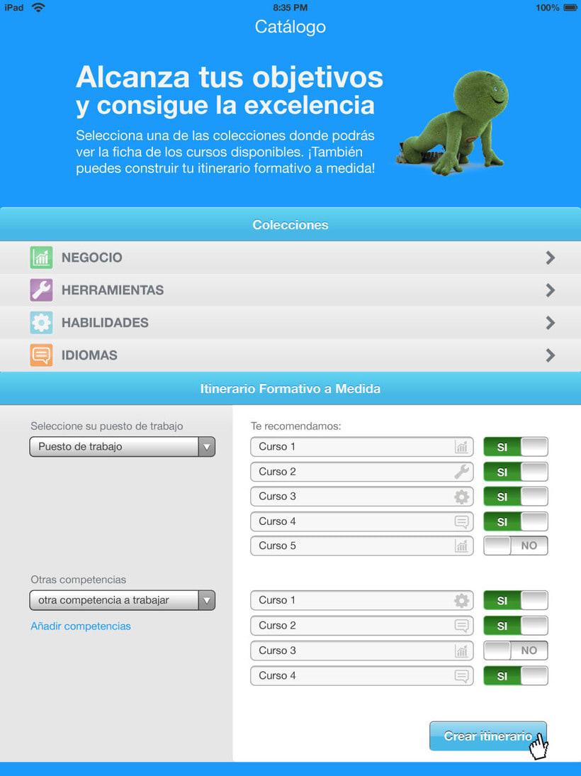 Bocetos APP para tablet de un catálogo de cursos para CETELEM. 1