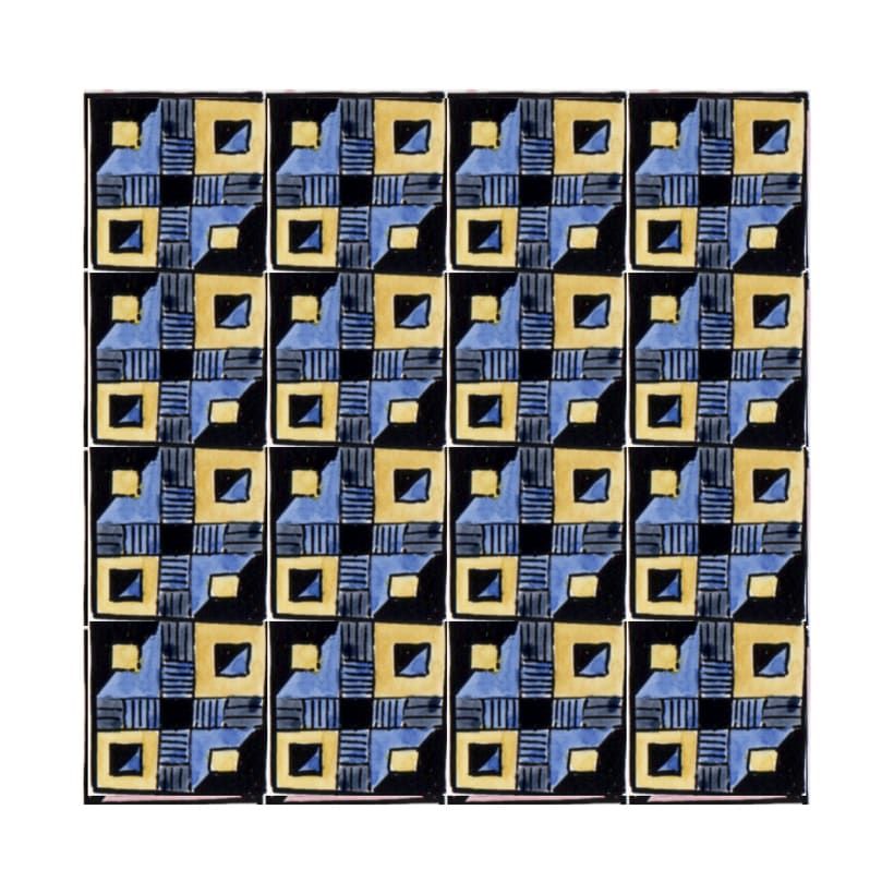 Diseño de azulejos para ilustración. Serigrafía y acuarela -1