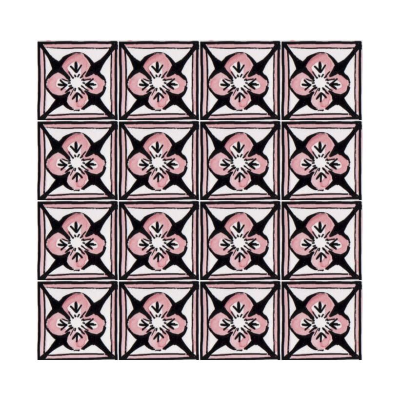 Diseño de azulejos para ilustración. Serigrafía y acuarela 0