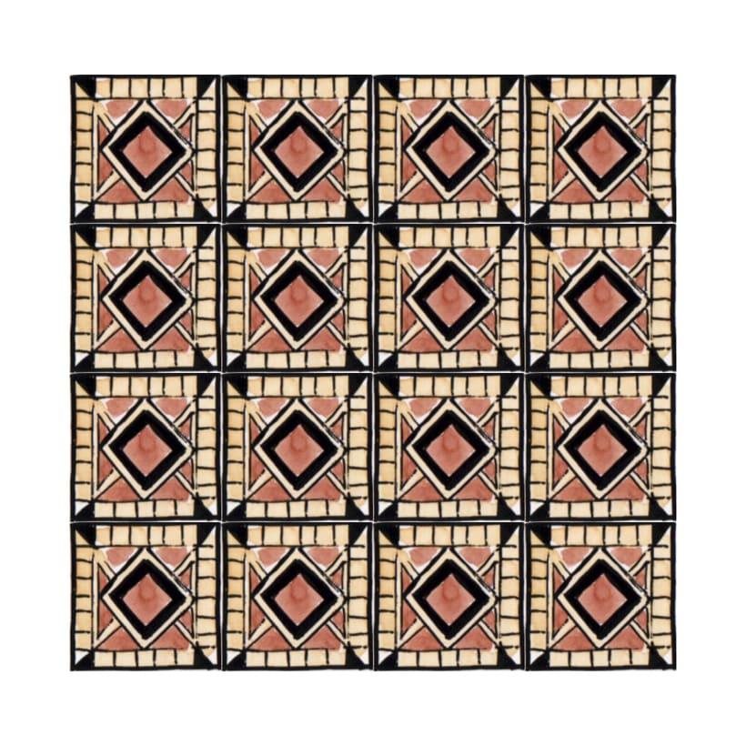 Diseño de azulejos para ilustración. Serigrafía y acuarela 2