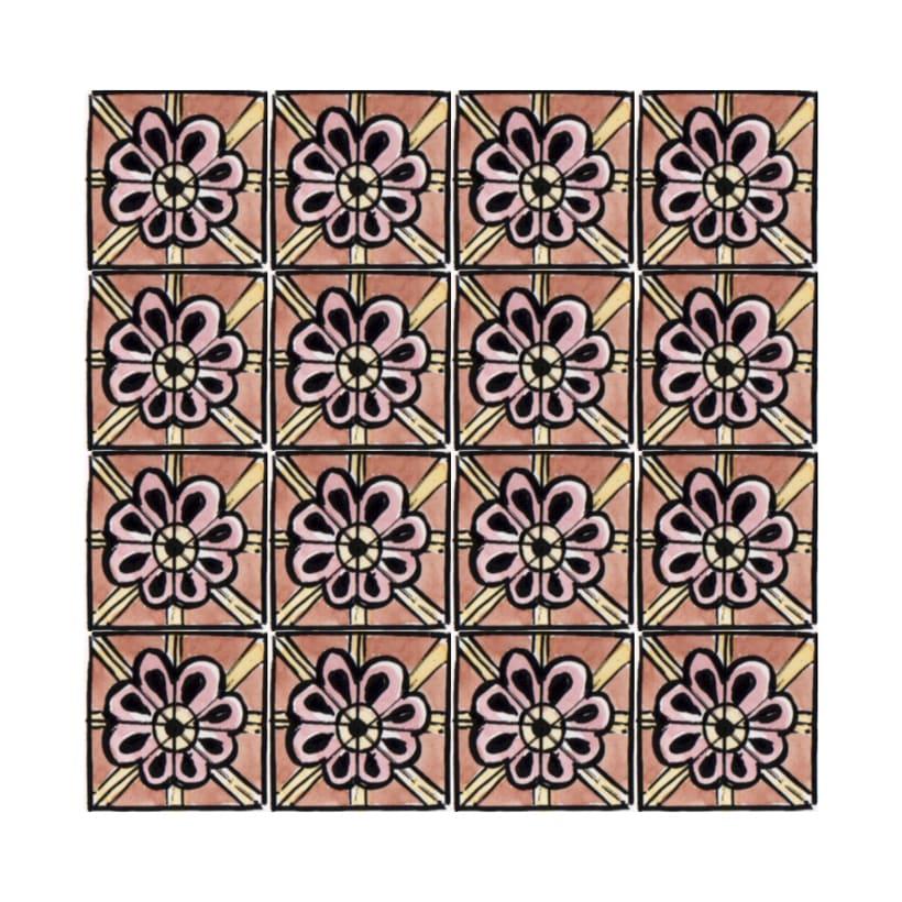 Diseño de azulejos para ilustración. Serigrafía y acuarela 3