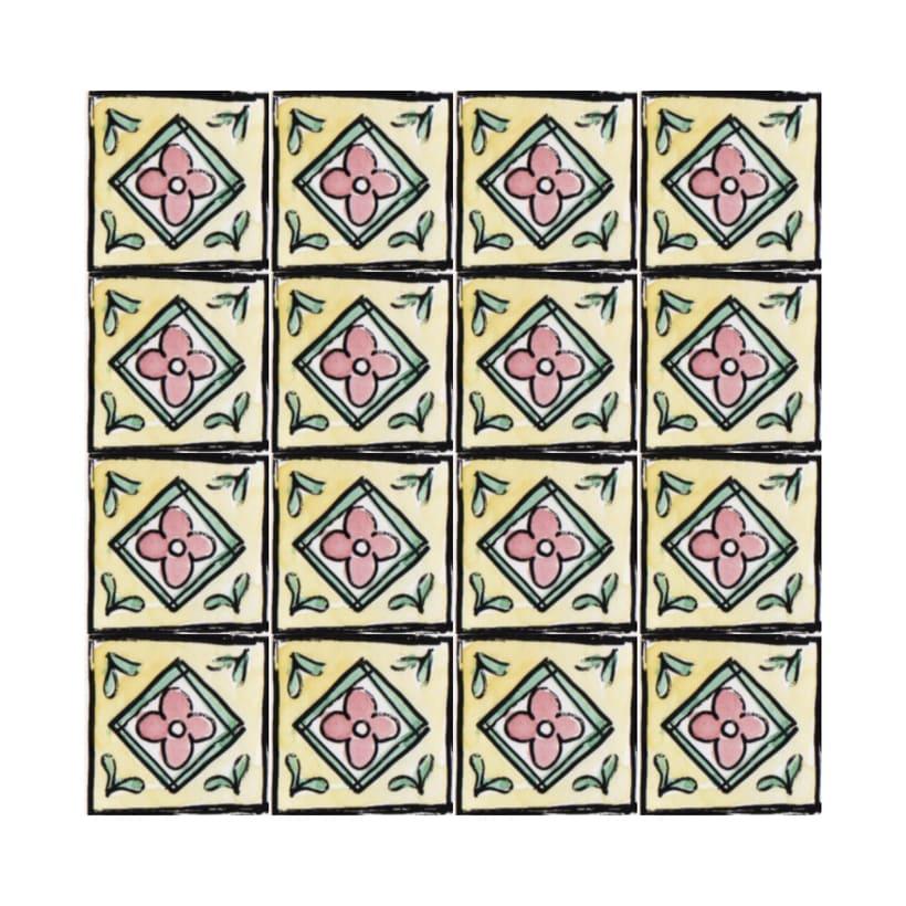 Diseño de azulejos para ilustración. Serigrafía y acuarela 4