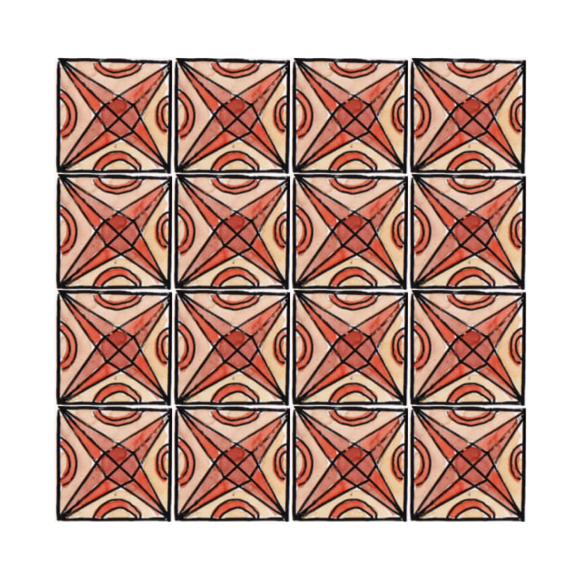 Diseño de azulejos para ilustración. Serigrafía y acuarela 5