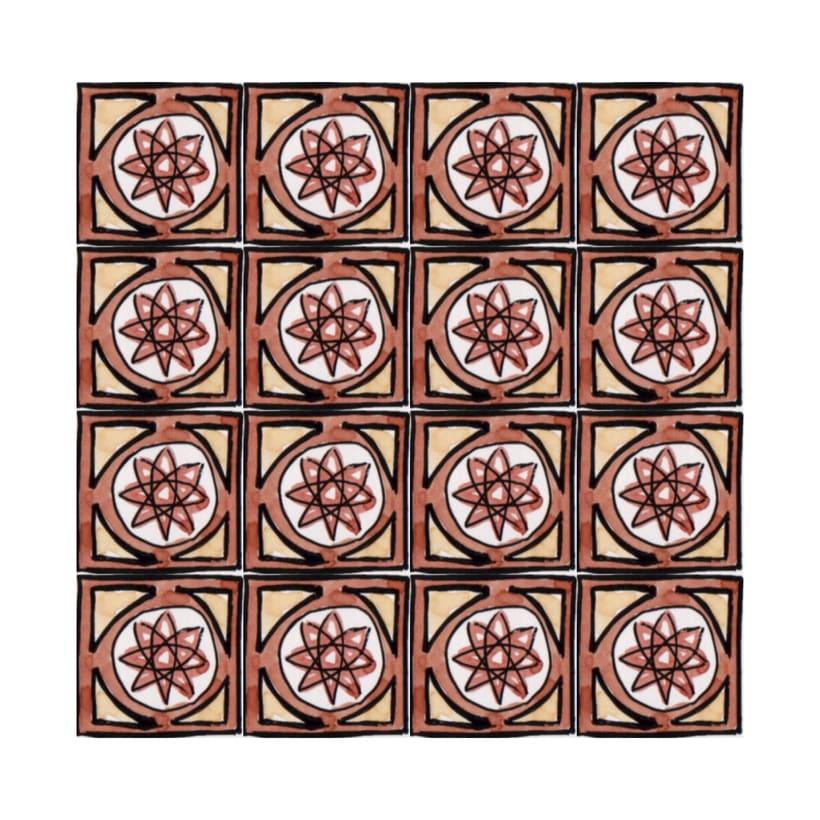 Diseño de azulejos para ilustración. Serigrafía y acuarela 6