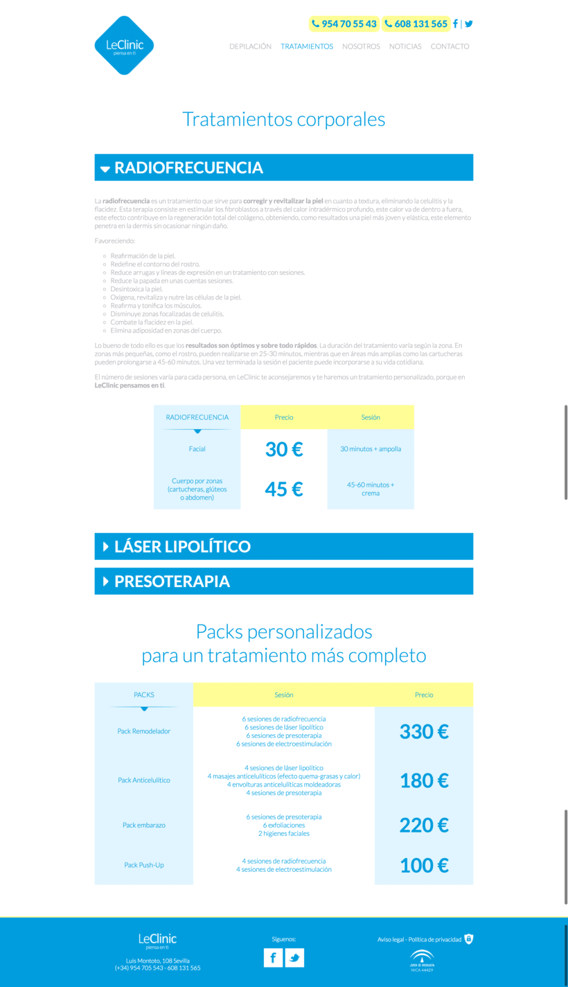 Diseño/Desarrollo Web/UI/UX: LeClinic 7