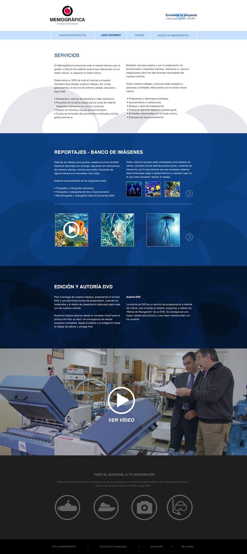 Diseño Web: Memográfica Estudio de fotografía submarina 4