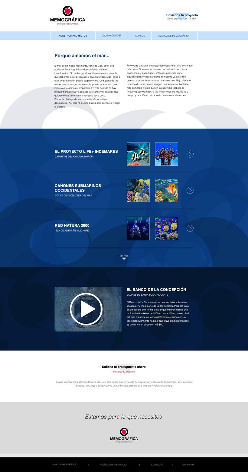Diseño Web: Memográfica Estudio de fotografía submarina 3