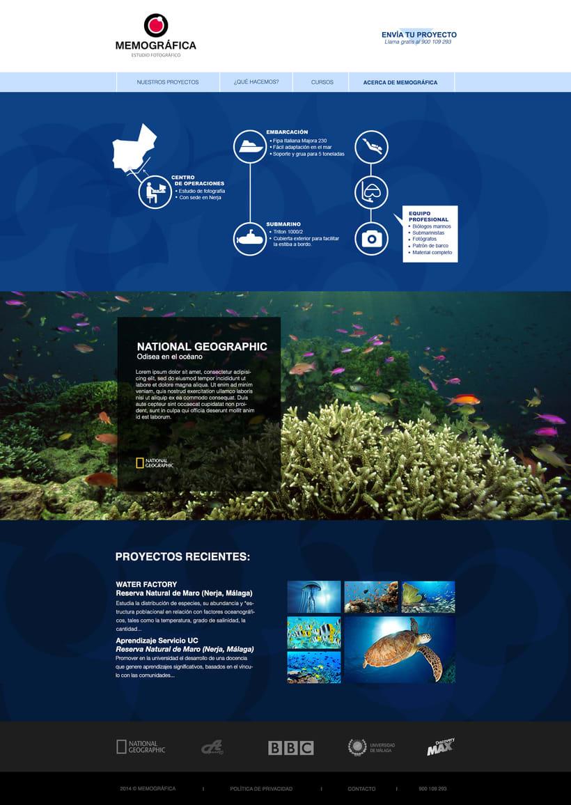 Diseño Web: Memográfica Estudio de fotografía submarina 2