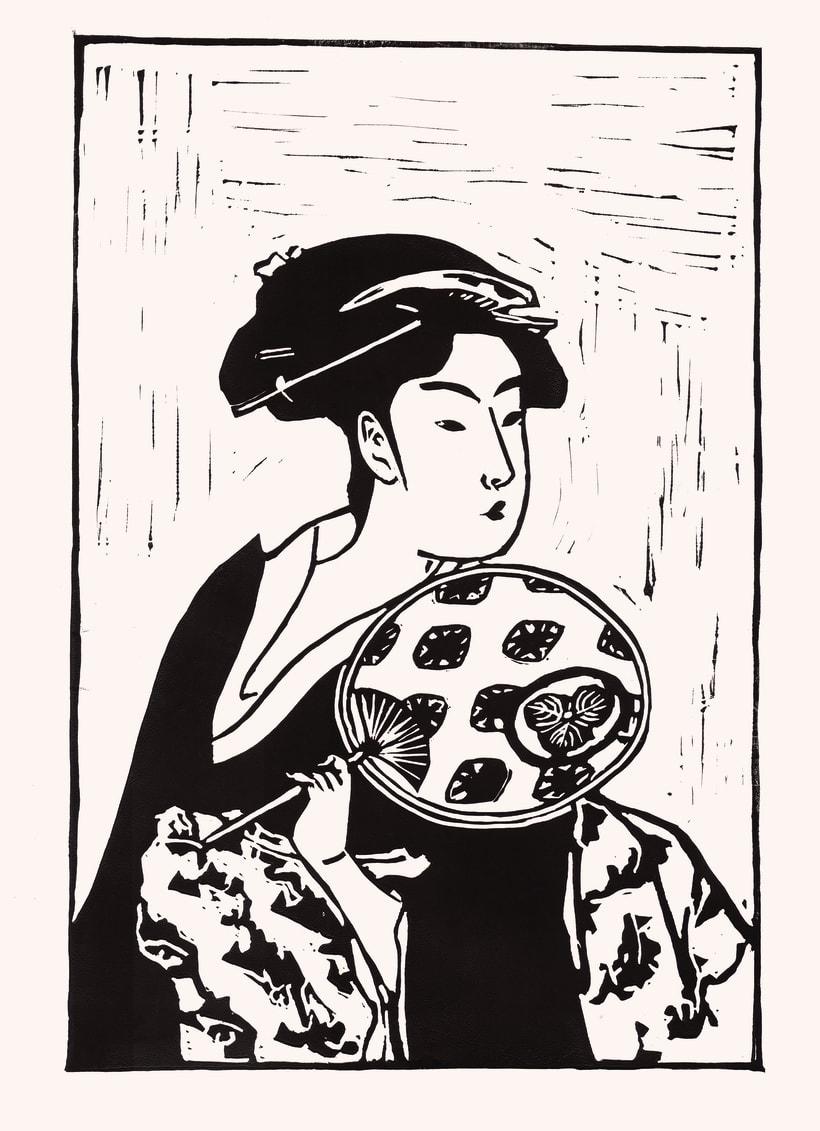 Geisha, Linograbado. -1
