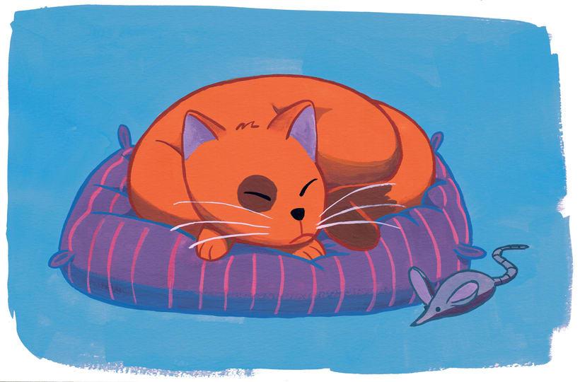 Gatito durmiendo (ilustración gouache) -1