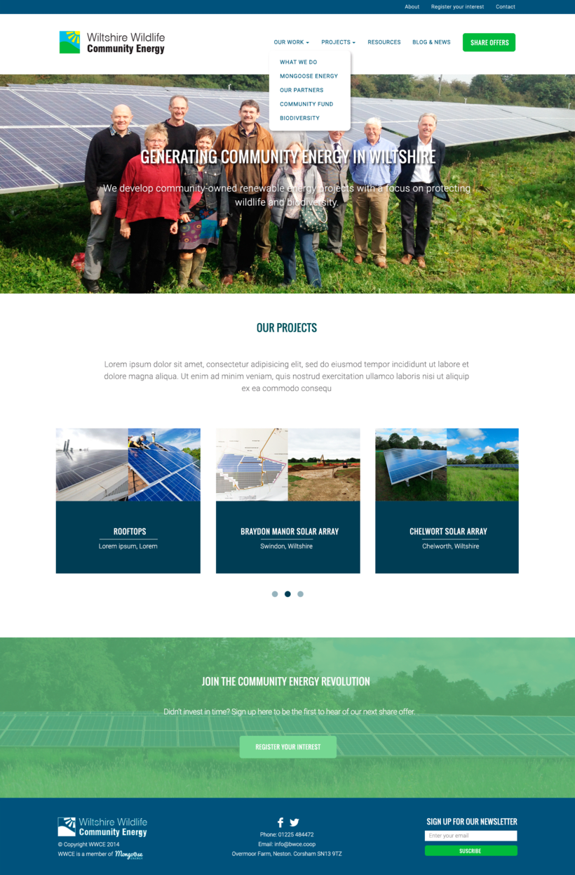 Diseño Web/UI/UX: Wiltshire Wildlife Community Energy (WWCE) -1