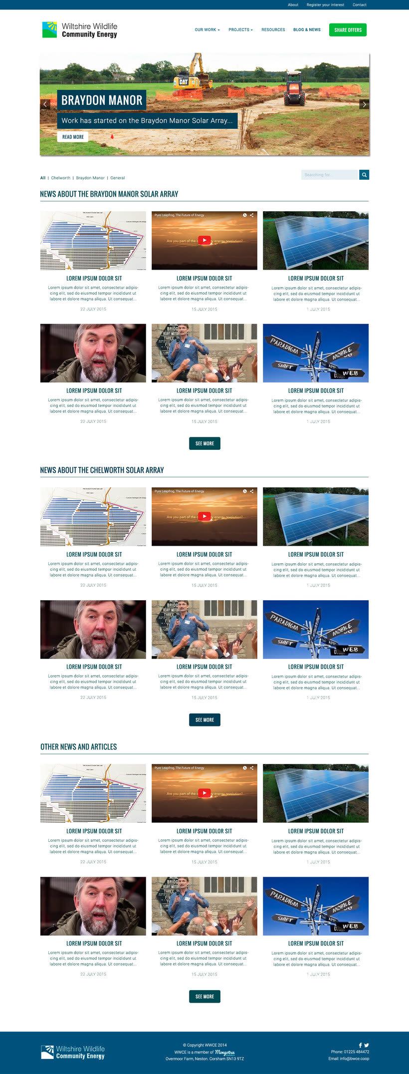Diseño Web/UI/UX: Wiltshire Wildlife Community Energy (WWCE) 1