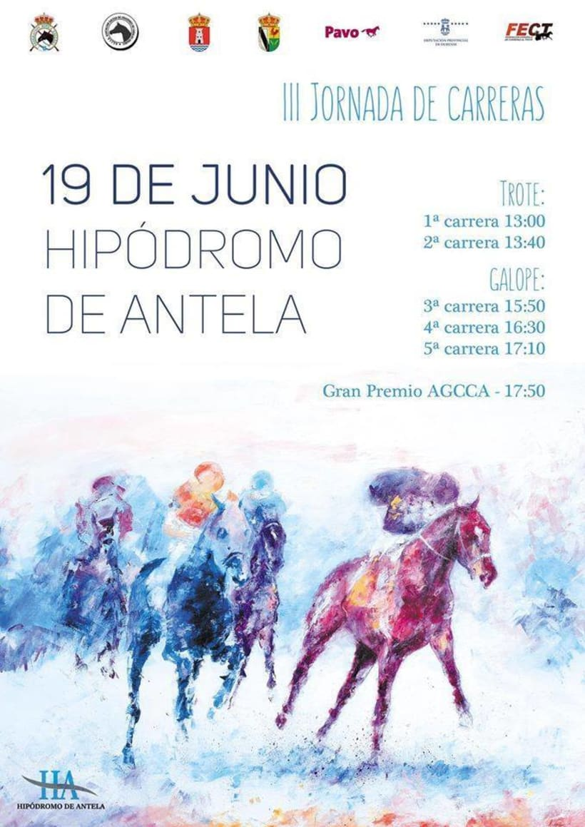 Poster .Carteles Eventos.Carreras de caballos.Hipódromo Antela 0