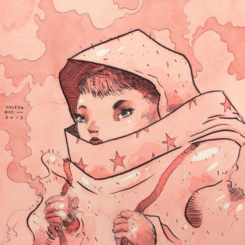 Cometa No. II (Tinta + Acuarela en Papel de Algodón). 1