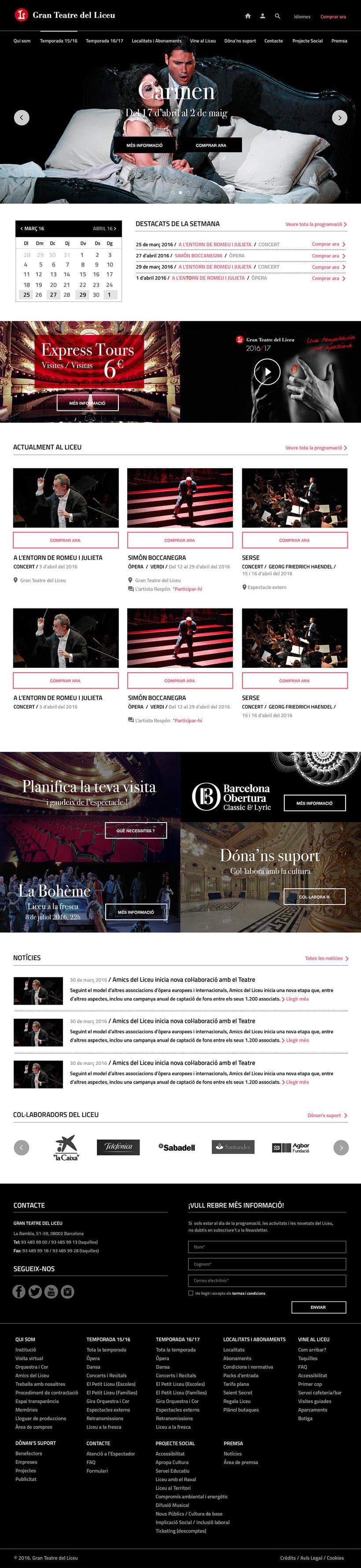 Propuesta de diseño web para Teatre del Liceu 2