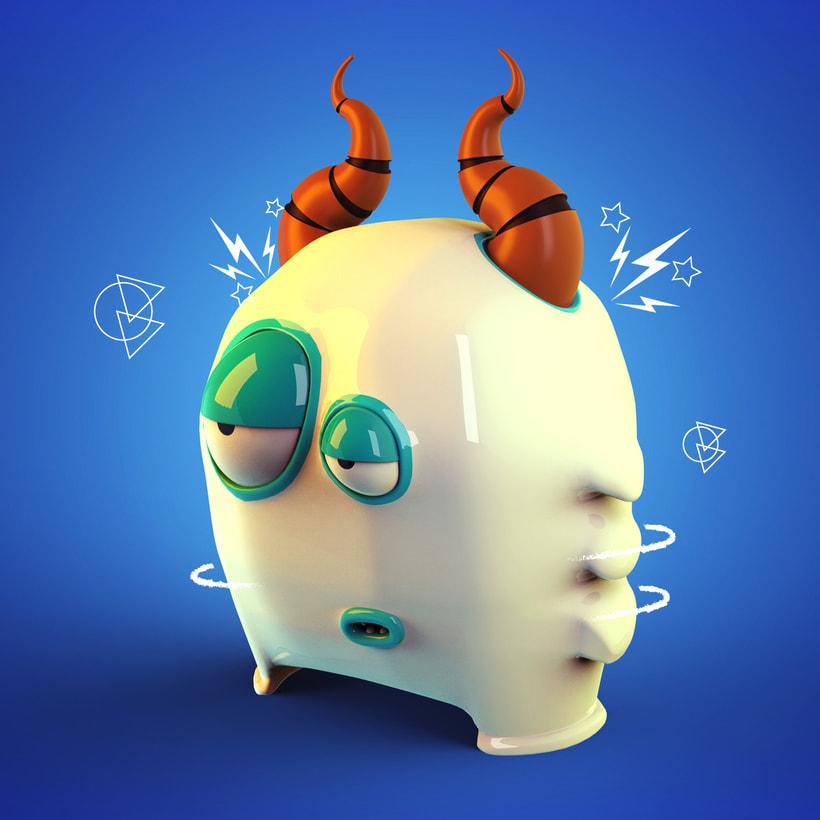 Mi Proyecto del curso: Diseño de personajes en Cinema 4D: Little Monster -1