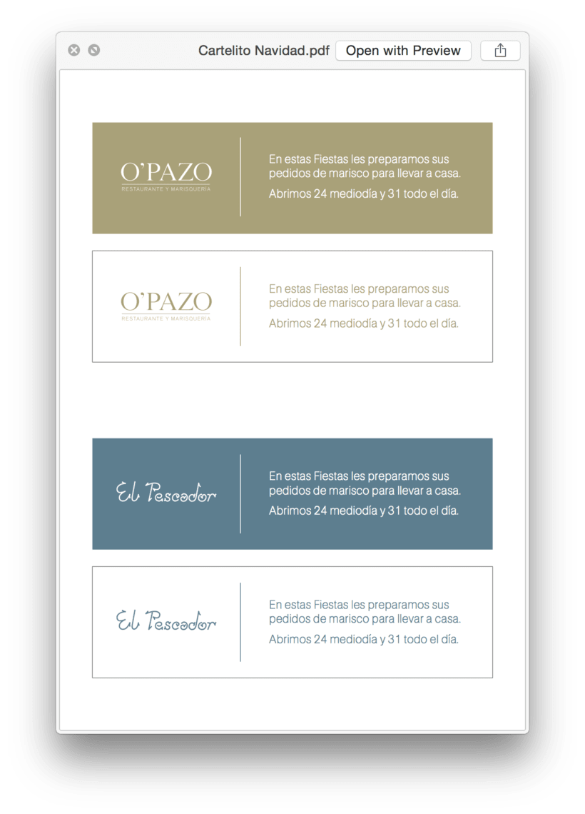 Diseños para el Restaurante El Pescador 3