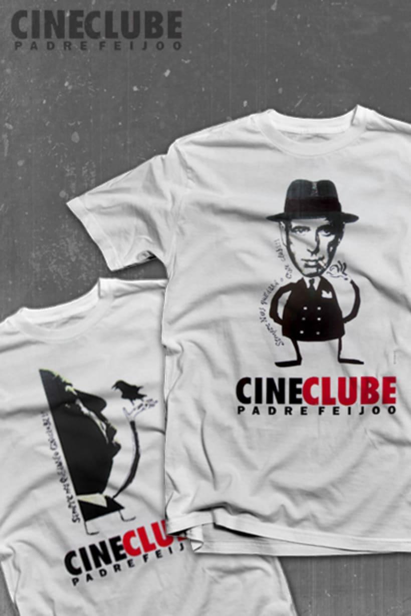 """Camisetas oficiales: """"Sempre nos quedará o Cine Clube"""" para promoción de la nueva y prometedora etapa del Cineclube. Rober V. Araújo. Ourense 1994. -1"""