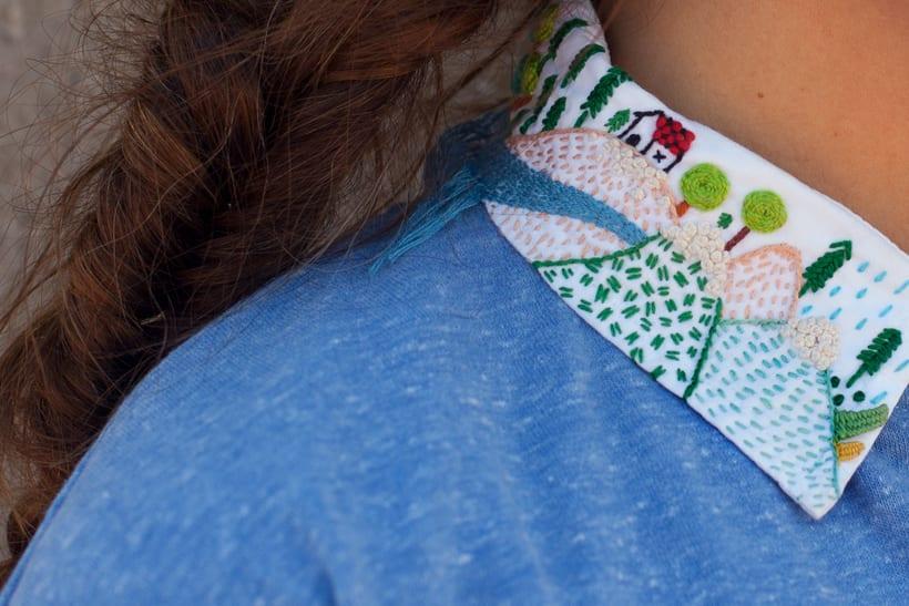 Paisaje bordado sobre cuello 7