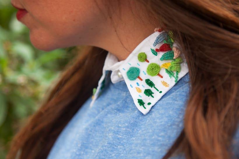 Paisaje bordado sobre cuello 9