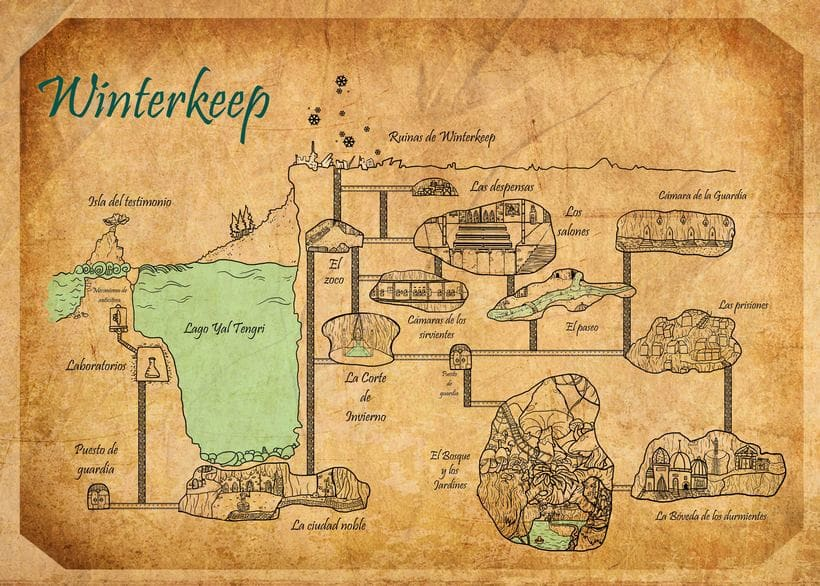 "old vintage map rol game ""Winterkeep"" -1"
