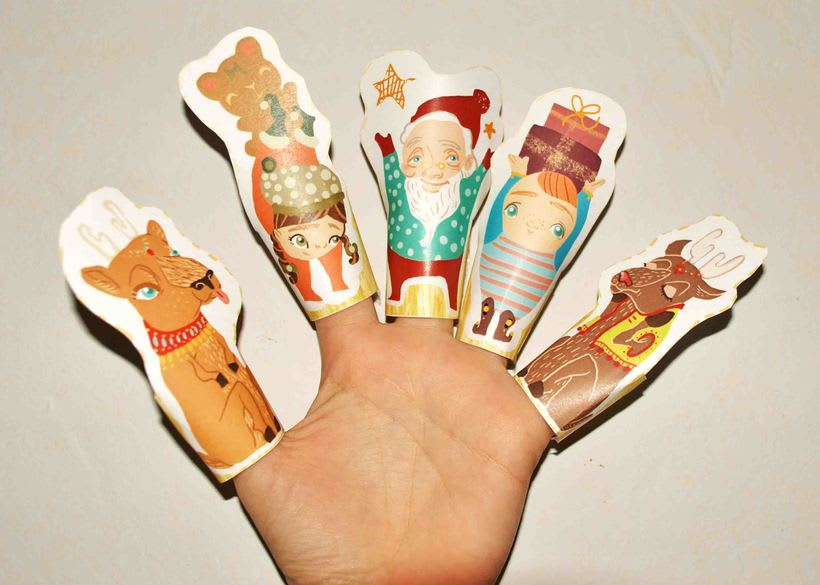 Christmas paper finger puppets -1