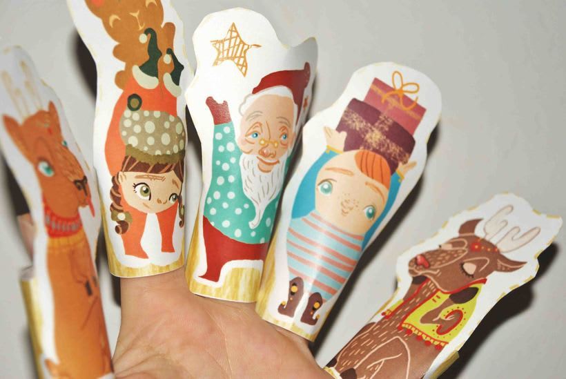 Christmas paper finger puppets 0