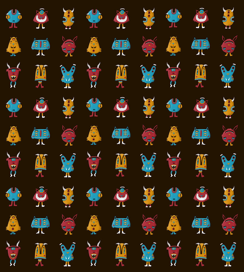 Digital monsters pattern 10