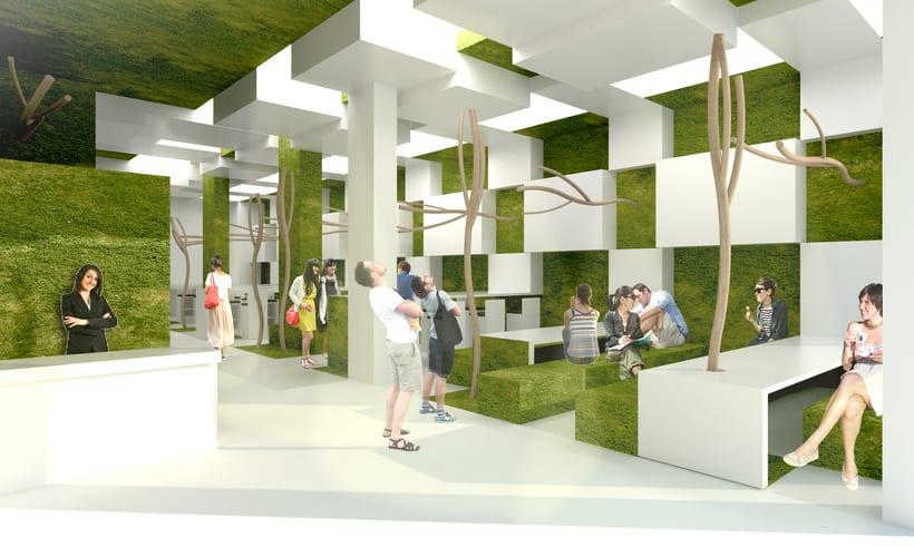 Park Restaurant _ Un parque, espacio plano, 2D, plegado sobre sí mismo, genera un espacio 3D. 5