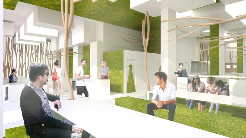 Park Restaurant _ Un parque, espacio plano, 2D, plegado sobre sí mismo, genera un espacio 3D. 6