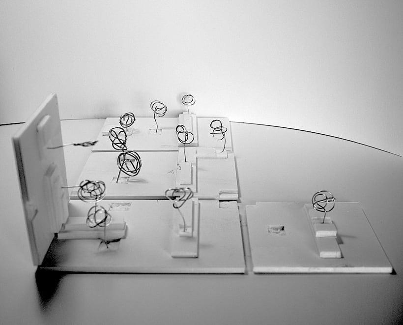 Park Restaurant _ Un parque, espacio plano, 2D, plegado sobre sí mismo, genera un espacio 3D. 1