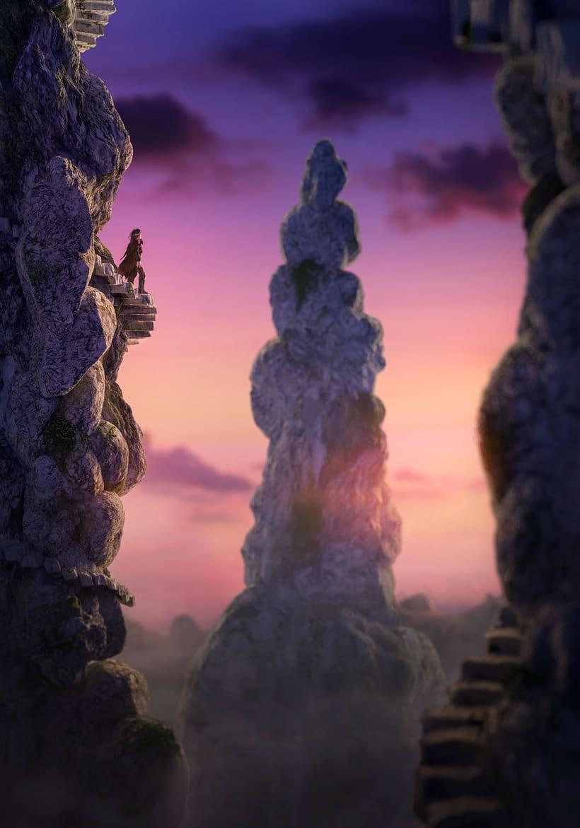 Blender Fantasy Landscape. From concept to final render -1