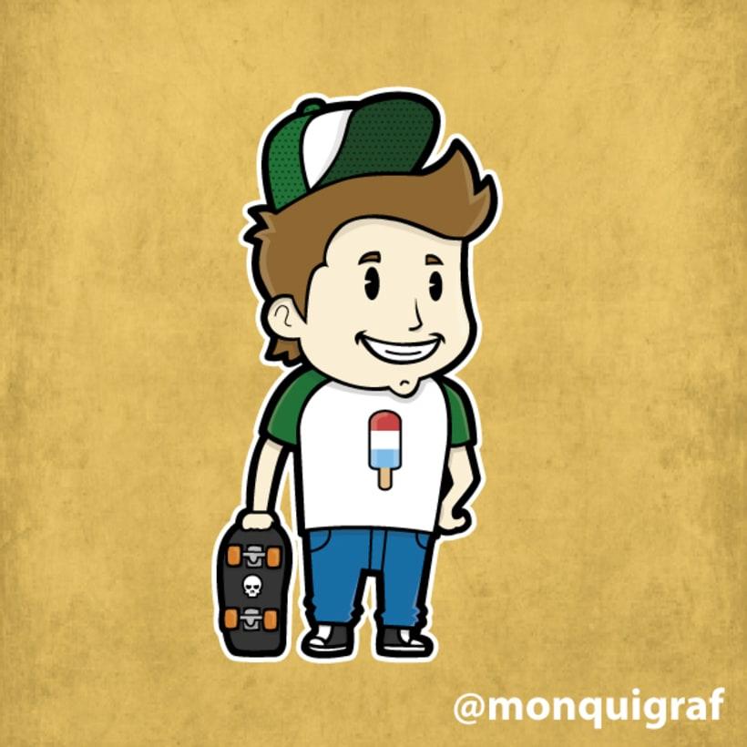 Diseño para pegatina y camiseta Skater Boy #diseño #ilustración #pegatina #skate #boy #vectorial #trama #illustrator #camiseta -1