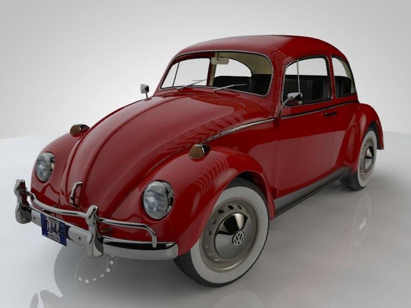 Escarabajo 1967 elaborado en Cinema 4D y Render standard -1