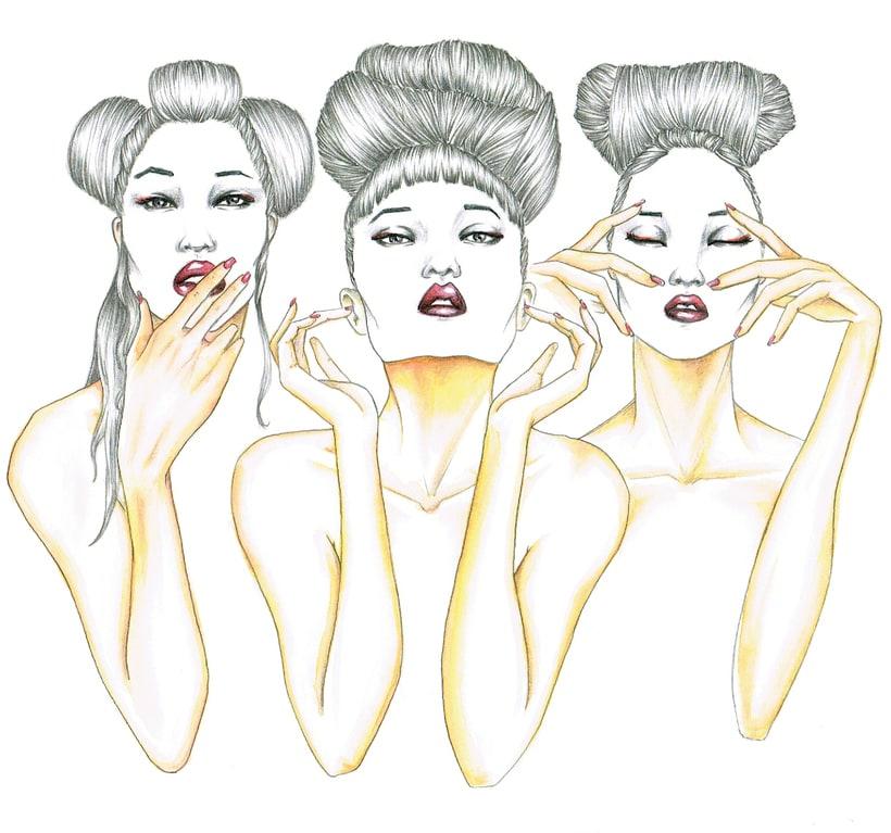 Three wise oriental monkeys -1