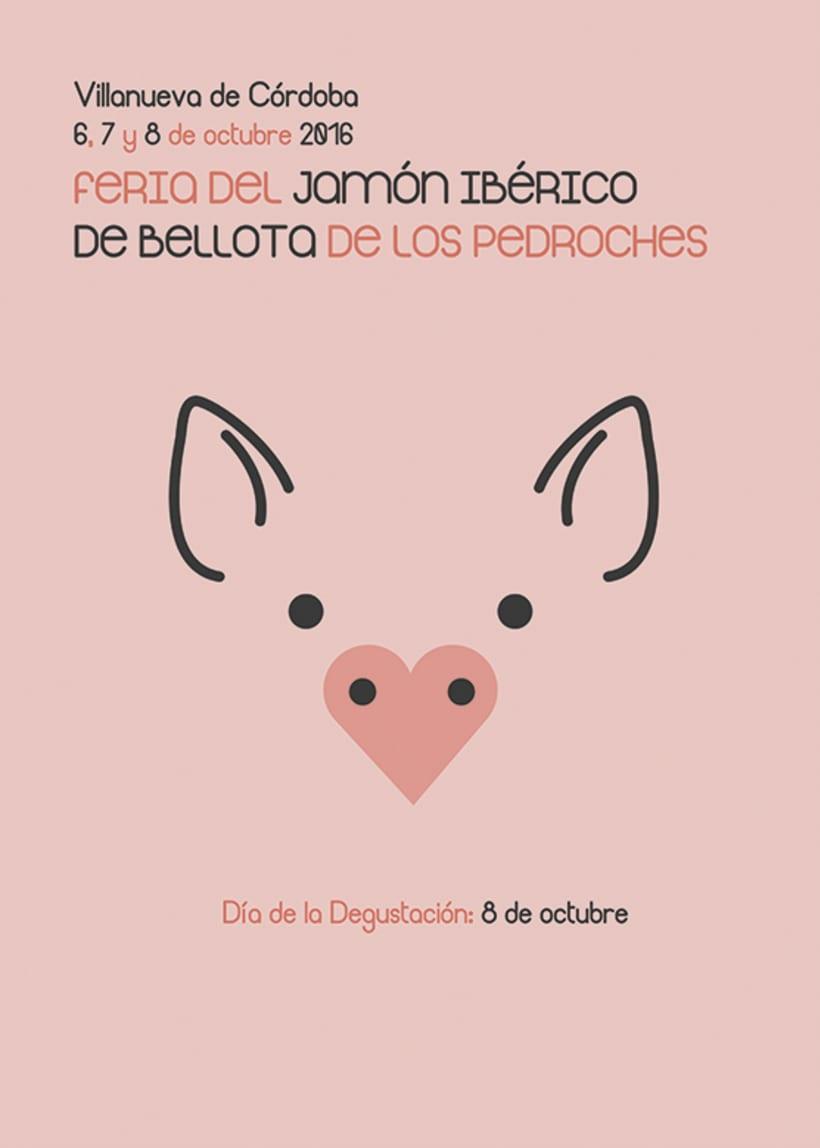 Cartel Feria del Jamón Ibérico de Bellota de los Pedroches 2016 -1