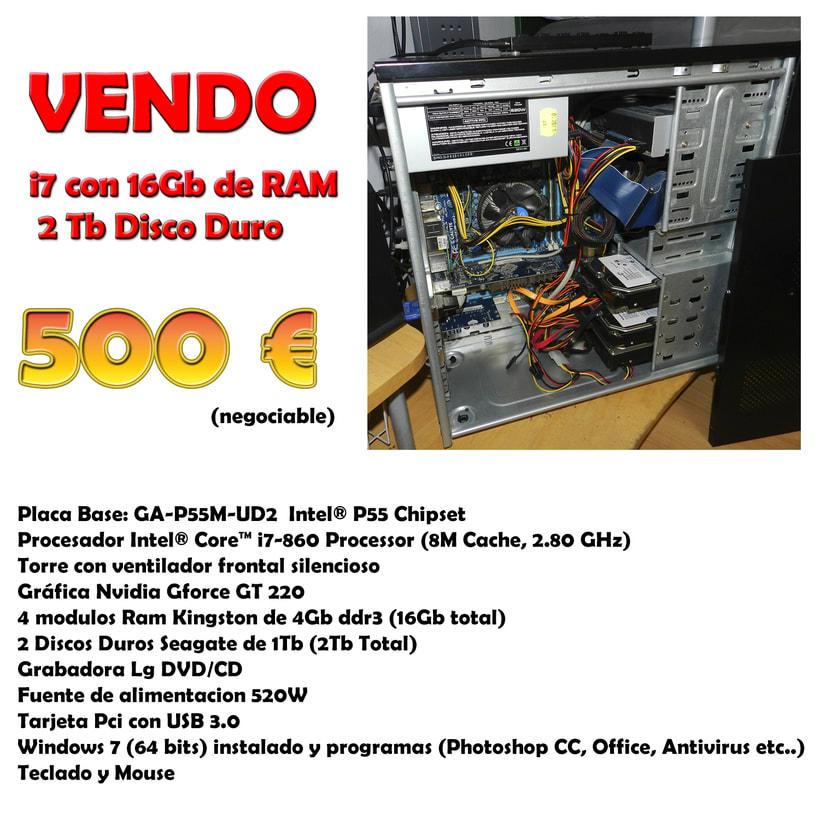Vendo Ordenador de Sobremesa (Intel Core i7, 16 Ram, 2Tb) 2