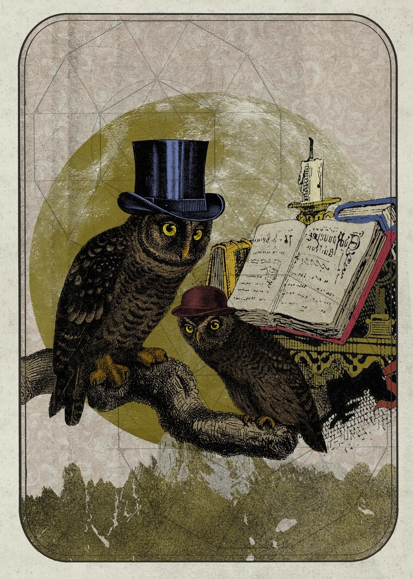 Cartel ilustrado. Buho, simbolo de la sabiduría :) -1