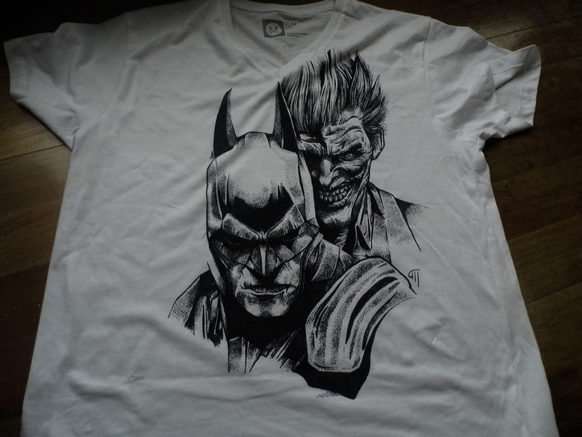 Ilustración Batman y Joker en camiseta 2