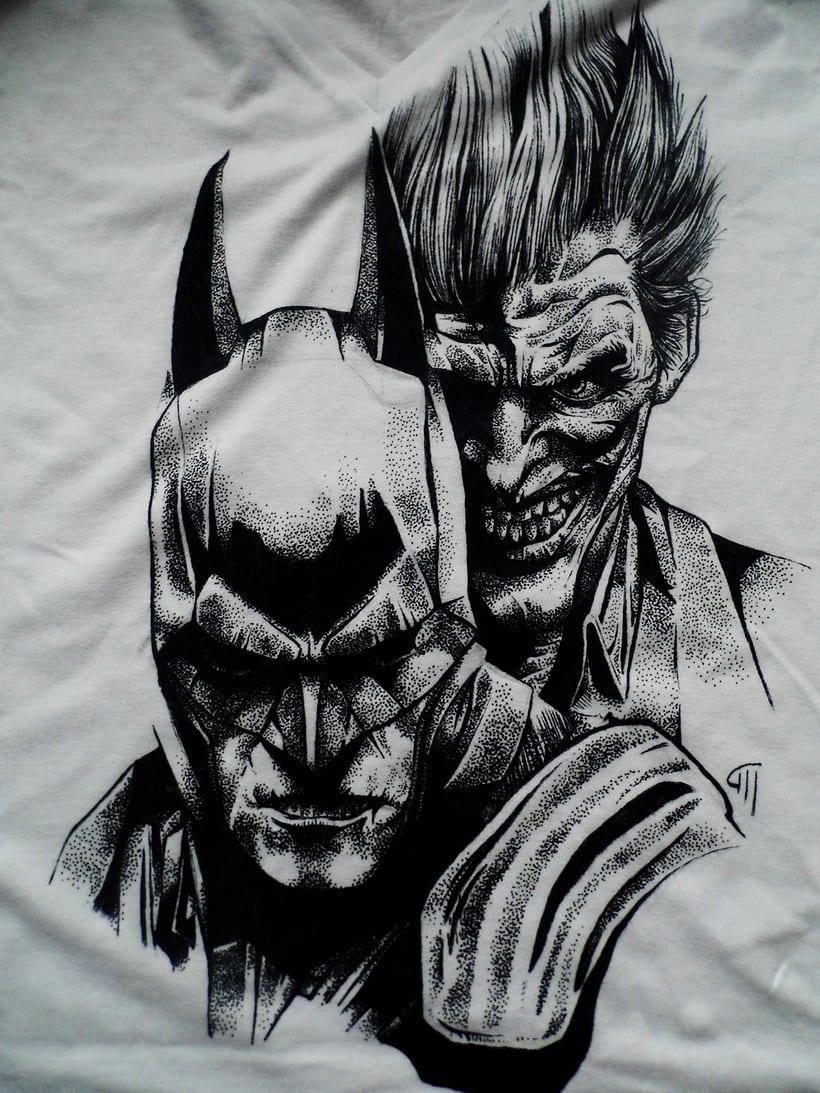 Ilustración Batman y Joker en camiseta 1