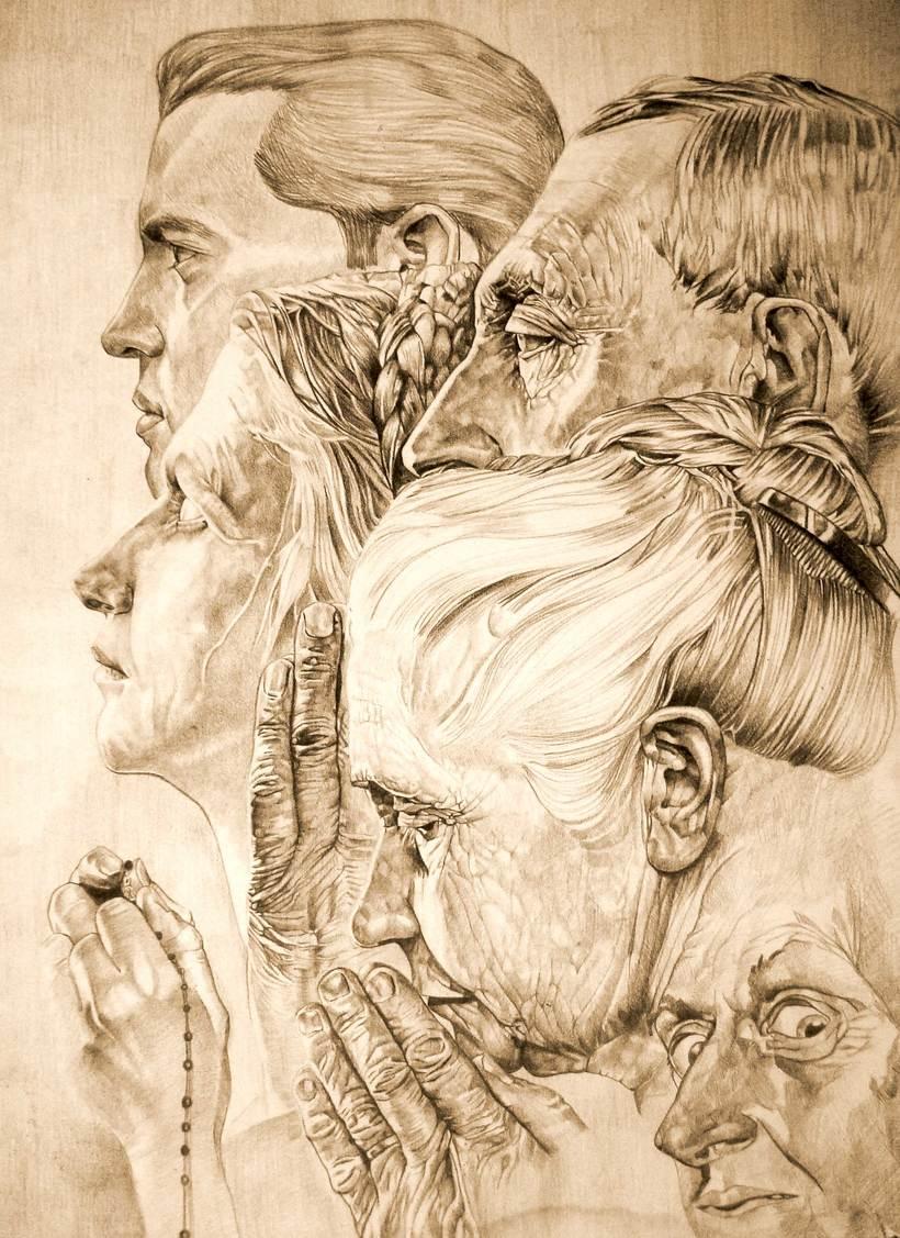 Dibujo Apropiacion de Norman Rockwell -1