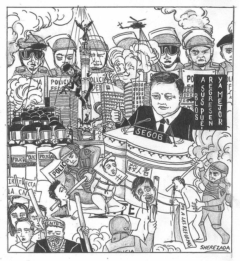 Caricaturas para el periódico político Columna Roja (antes Quebranto) 0