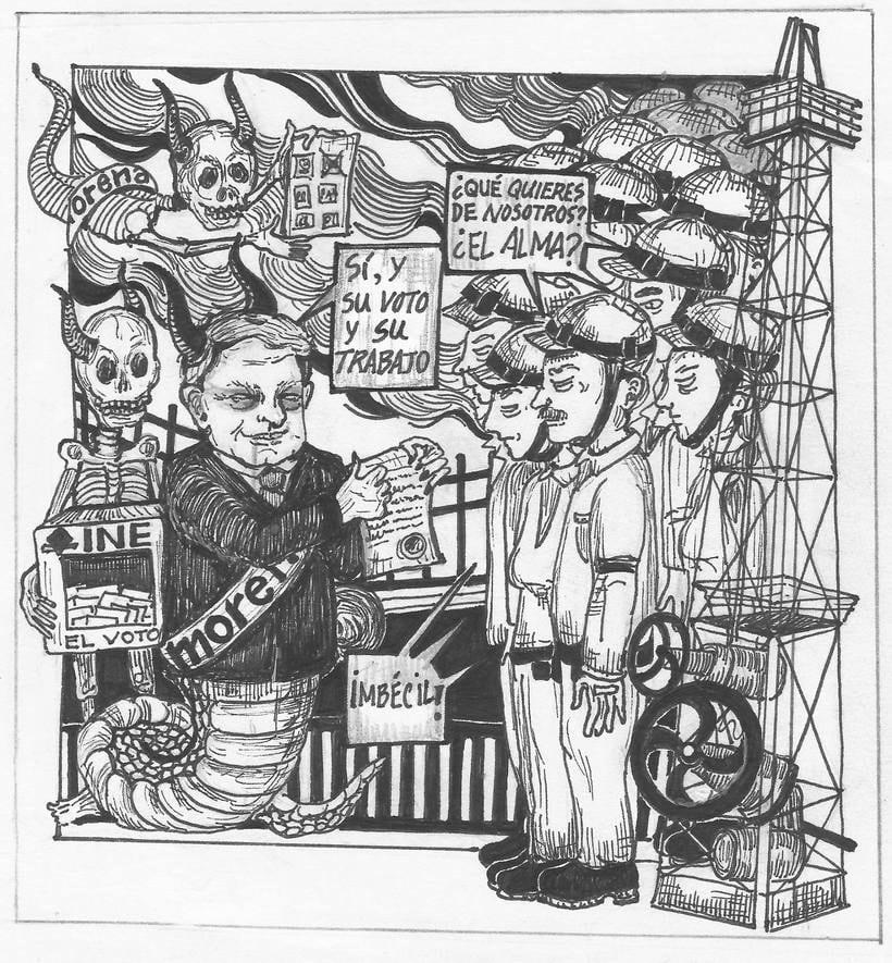 Caricaturas para el periódico político Columna Roja (antes Quebranto) 1