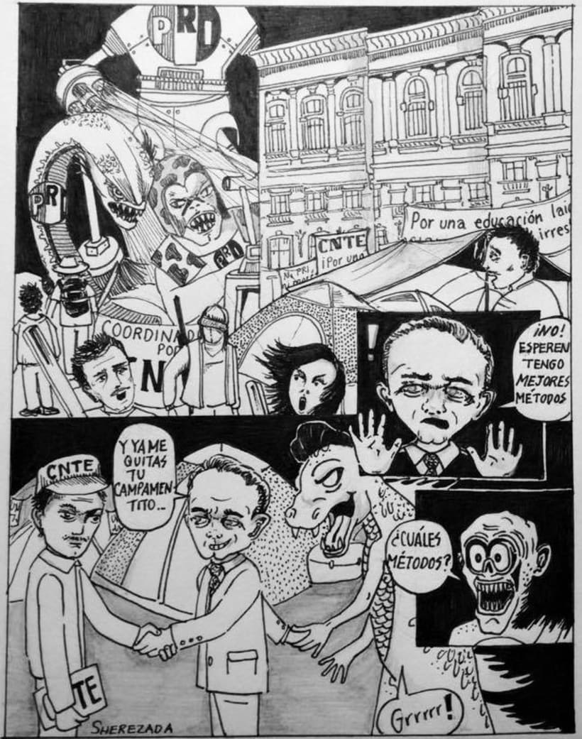 Caricaturas para el periódico político Columna Roja (antes Quebranto) 3